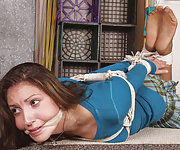 Pantyhosed cutie - roped and cleave-gagged