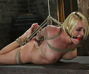 Tightly bound in a strict hogtie and made to cum
