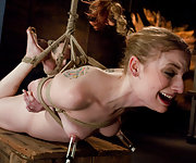 Long-legged honey gets stripped, roped, pegged and vibed