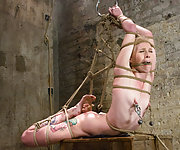 Blonde gets tied up, made to scream and cum