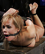 Blonde gets hogtied, fingered and ass fucked