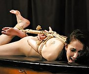 Helplessly hogtied and fucked with machine