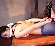 Nicole cuffed, hogtied and cleave-gagged