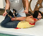 Lucy hard hogtied, tight ball-gagged, completely immobile